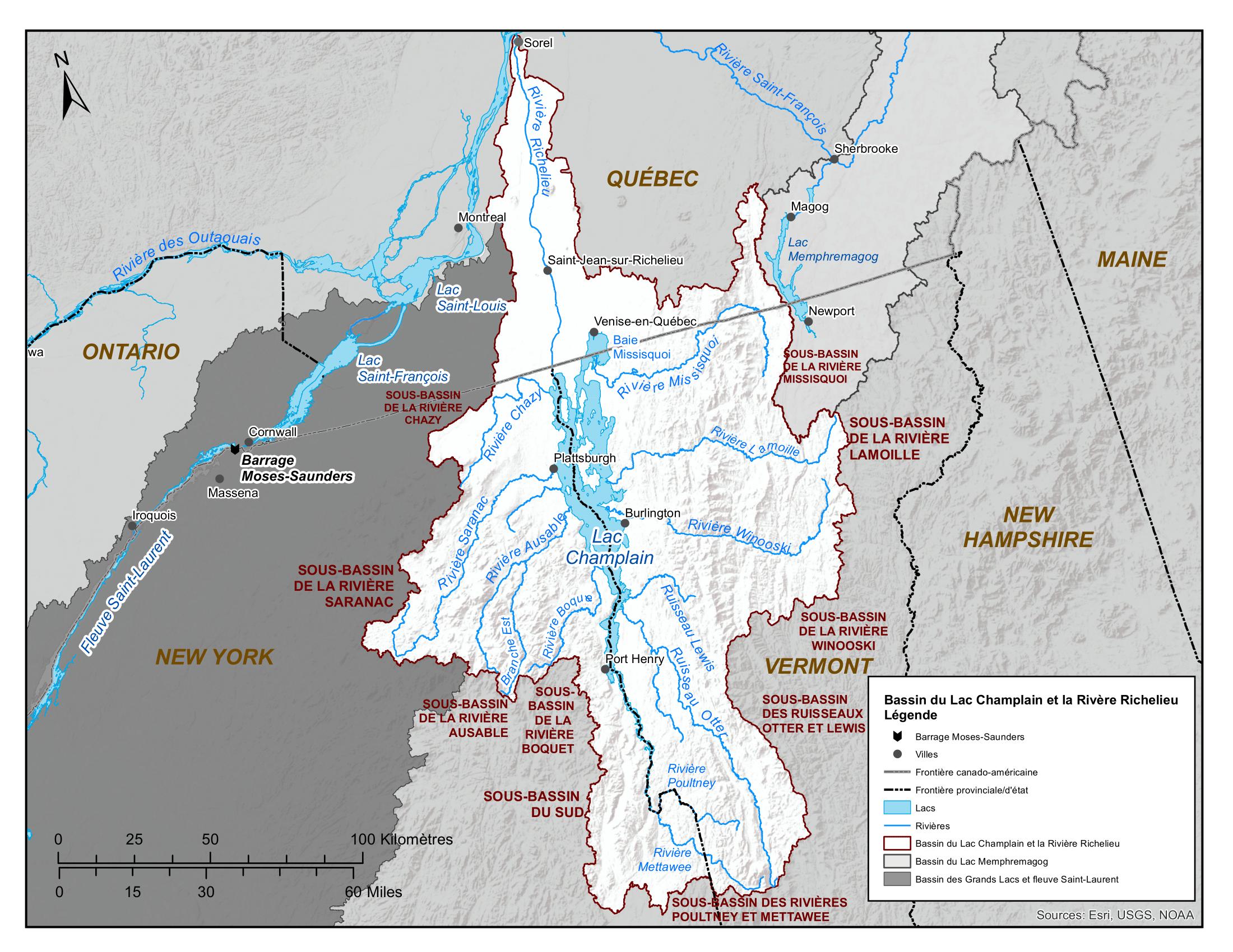 Carte - Bassin du lac Champlain et de la rivière Richelieu