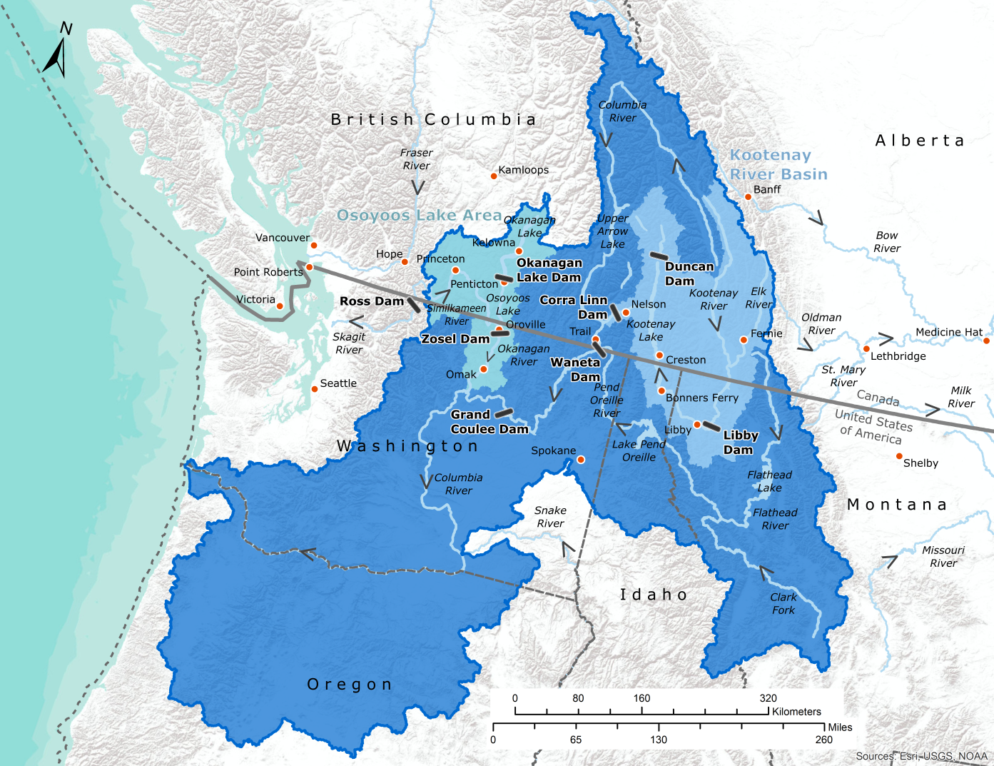 Map of the Columbia River watershed