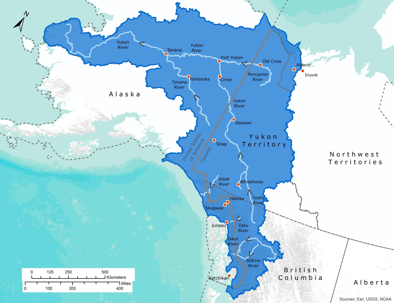 Map Of Canada Yukon River.Yukon Alaska British Columbia Region International Joint Commission