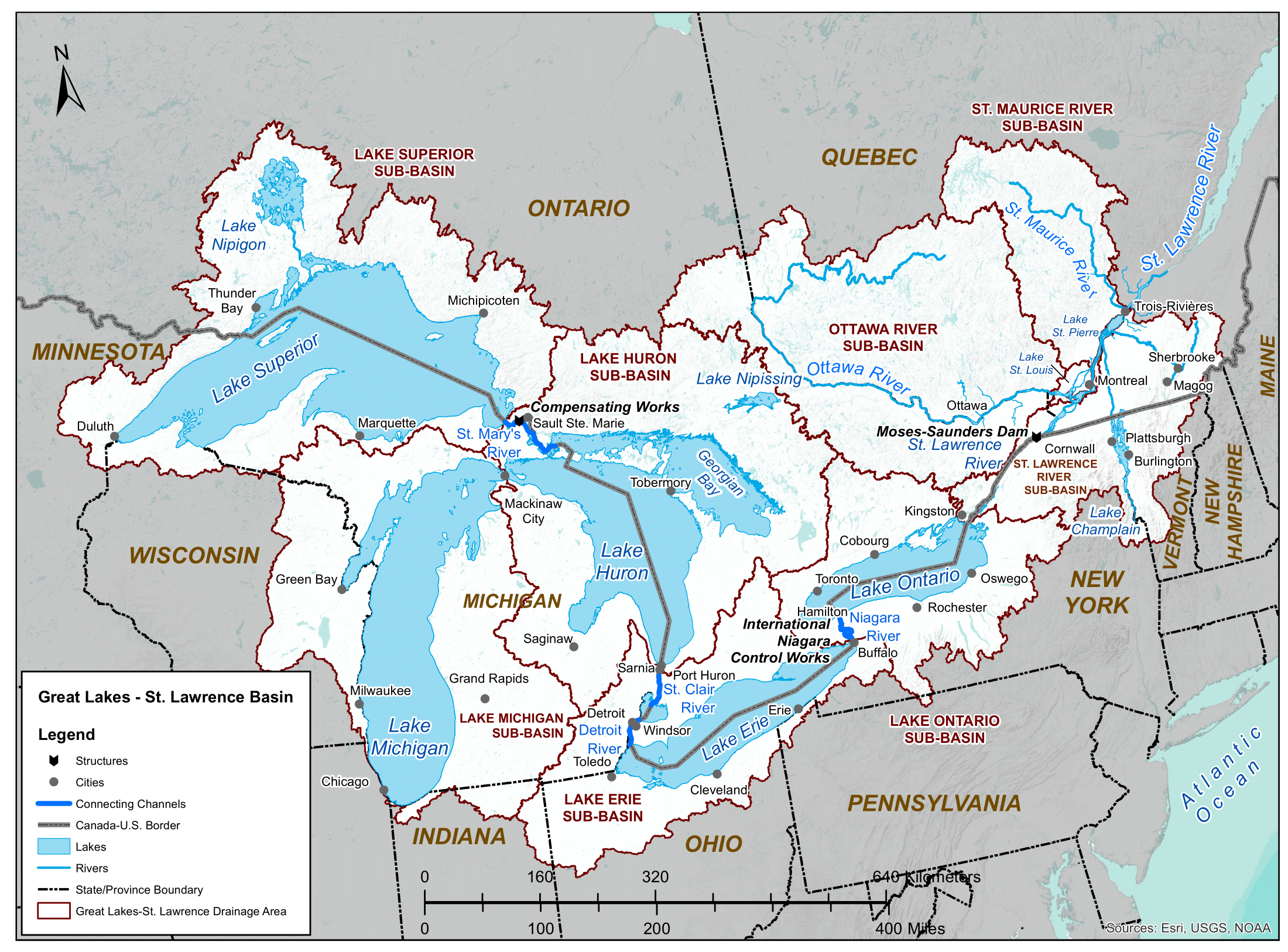 Map of Great Lakes-St.Lawrence River