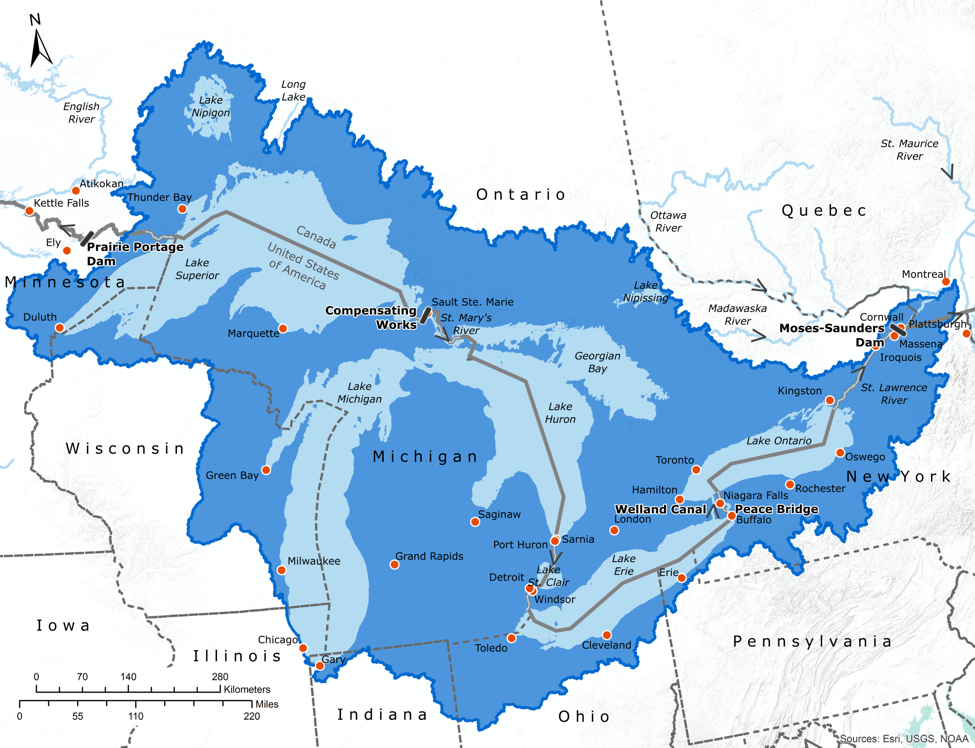 Map of the Great Lakes-St. Lawrence River watershed