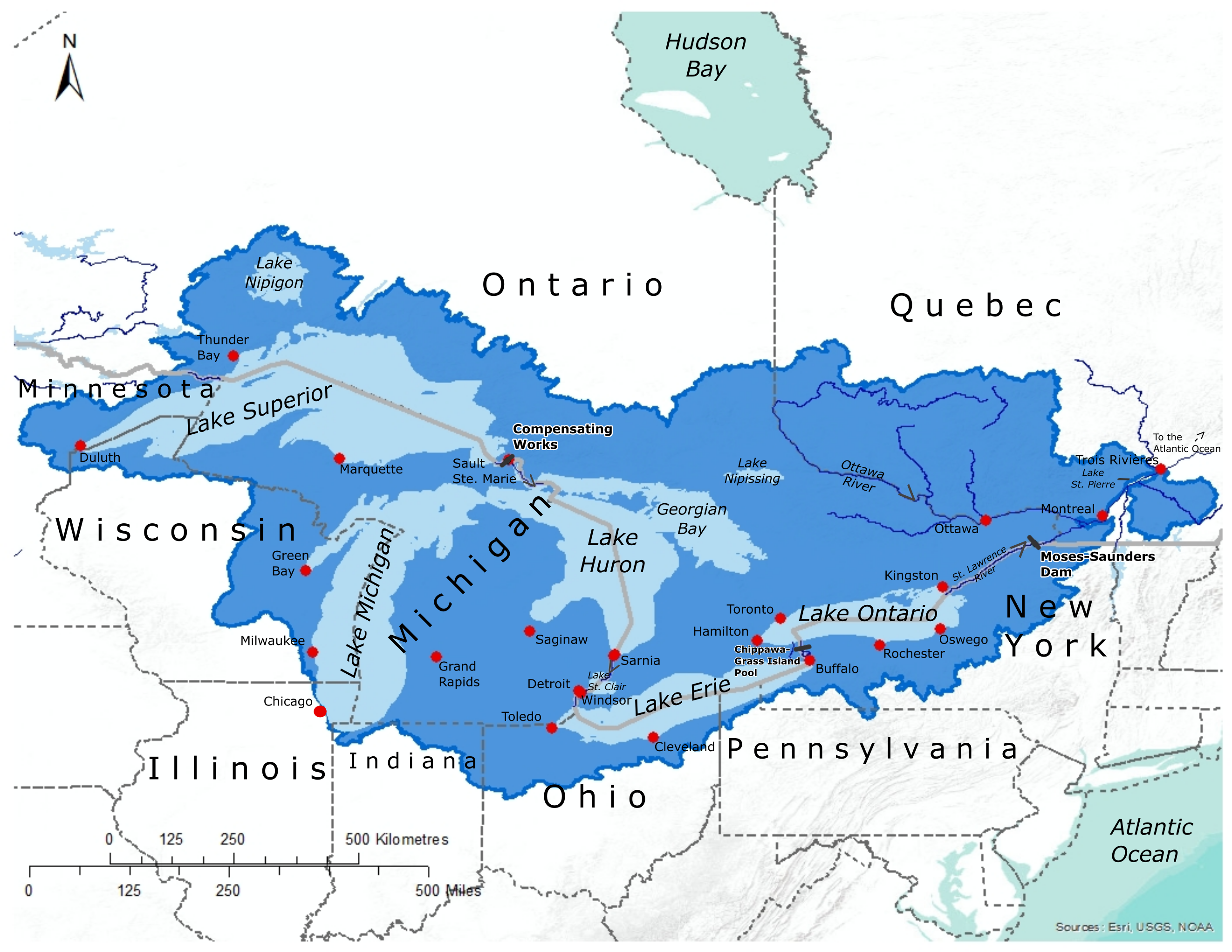 Great Lakes-St. Lawrence Basin Map