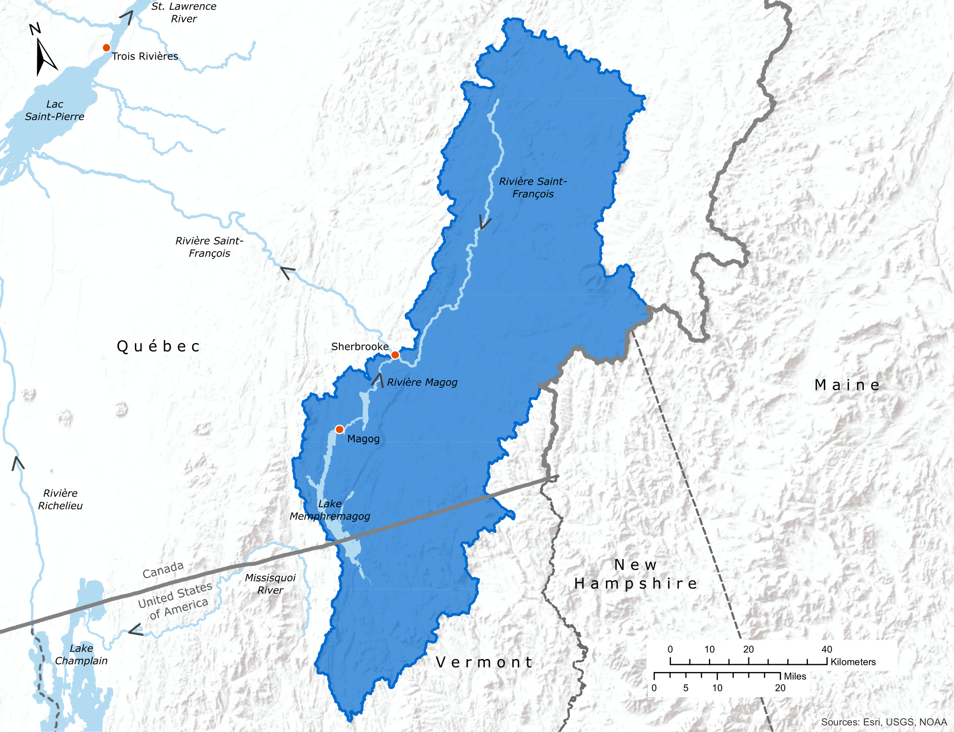 Map of the Lake Memphremagog region