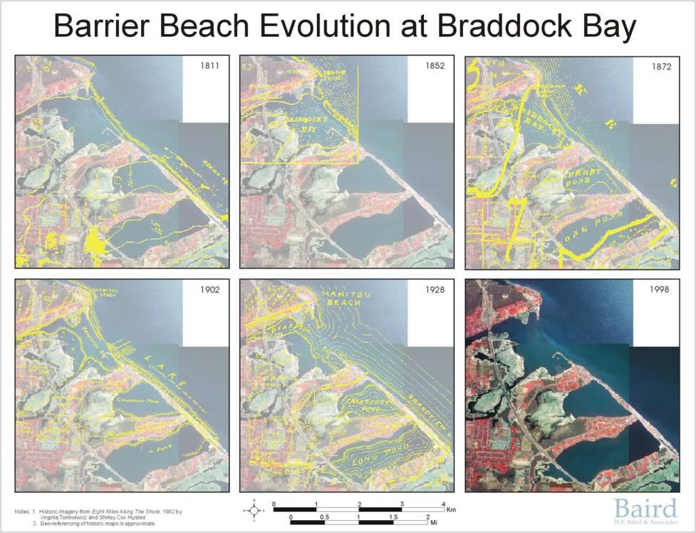 The barrier beach at Braddock Bay has eroded from 1811 to 1998. Credit: USACE.