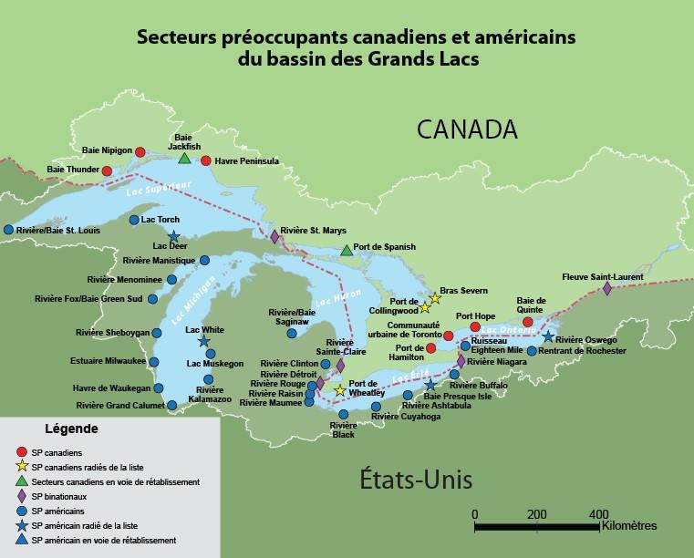 Une carte montrant tous les secteurs préoccupants ayant été radiés, ainsi que ceux qui demeurent préoccupants. Source : Binational.net