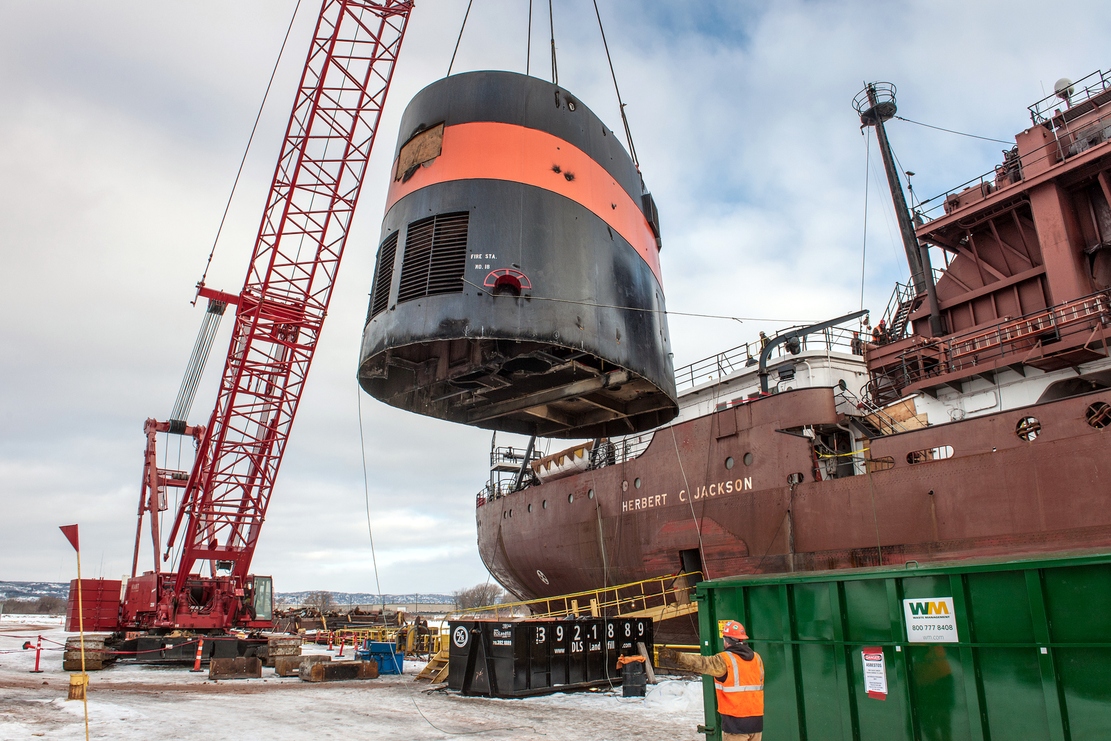 Fraser Shipyards has nearly 70 people dedicated to repowering the Herbert C. Jackson. Crews removed the ship's stack to extract the boilers and steam propulsion plant before being able to lower in two, new dual-fuel diesel engines later this month. Credit: Robert Welton