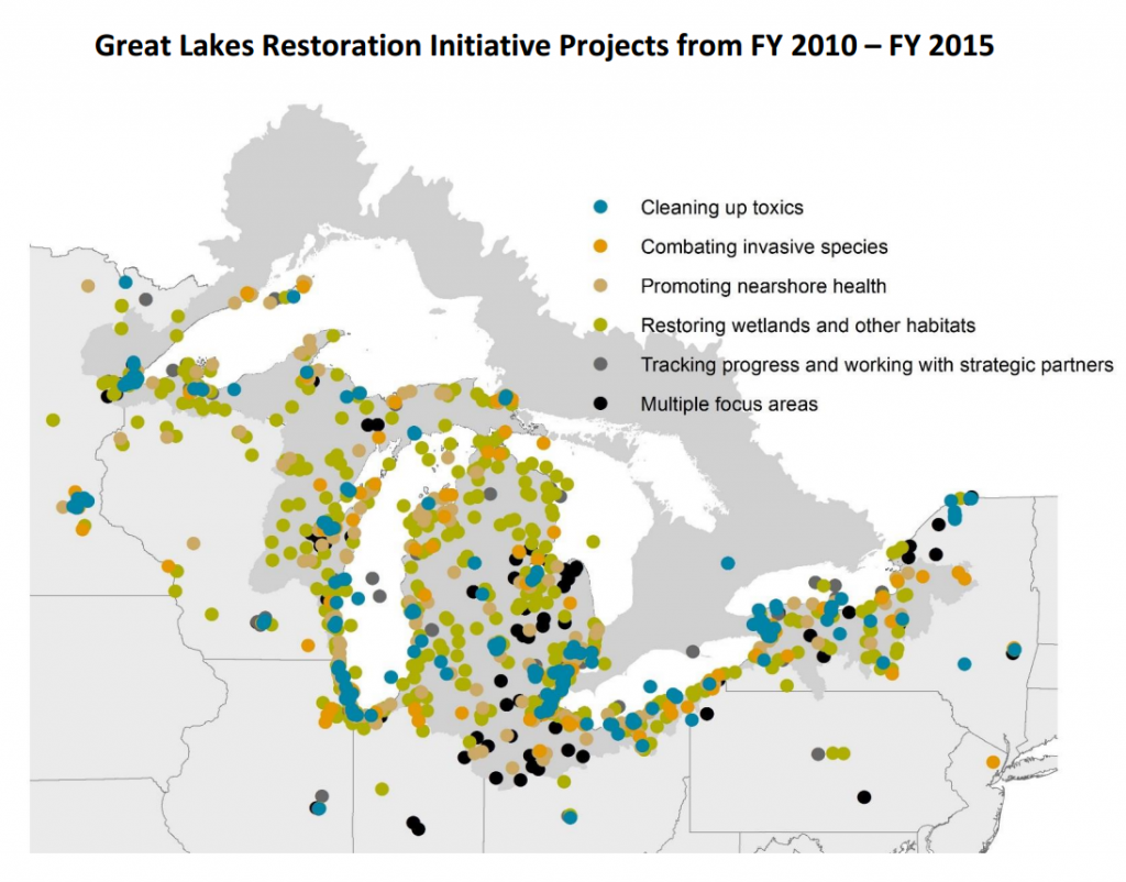 An example of Great Lakes Restoration Initiative projects, including funding to a handful of projects by Environment Canada. Credit: GLRI Report, June 2016; GLRI spreadsheet