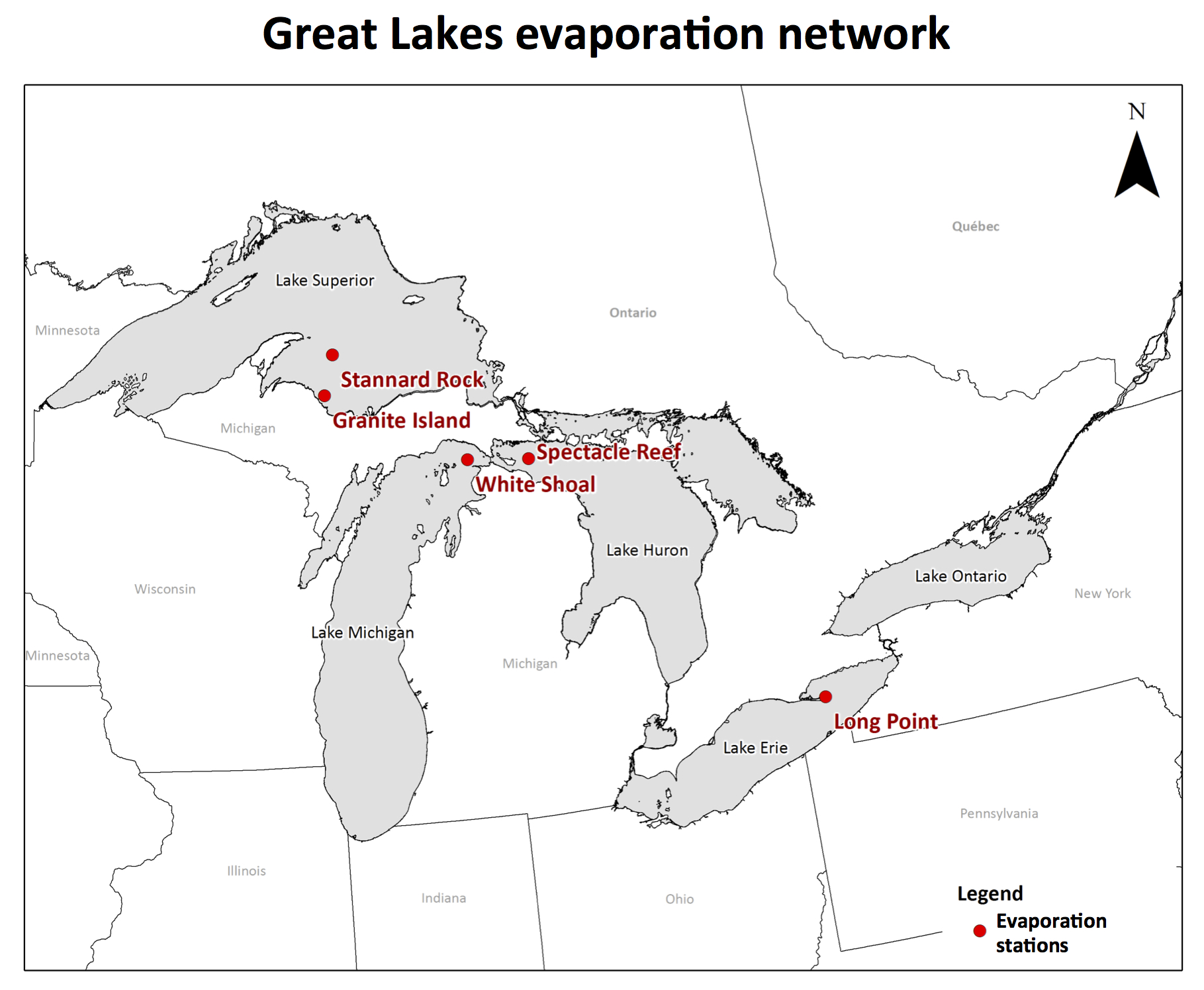 A map showing the locations of the current evaporation observation network.