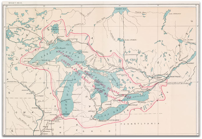 The drainage basin of the Great Lakes. Credit: Environment Canada.