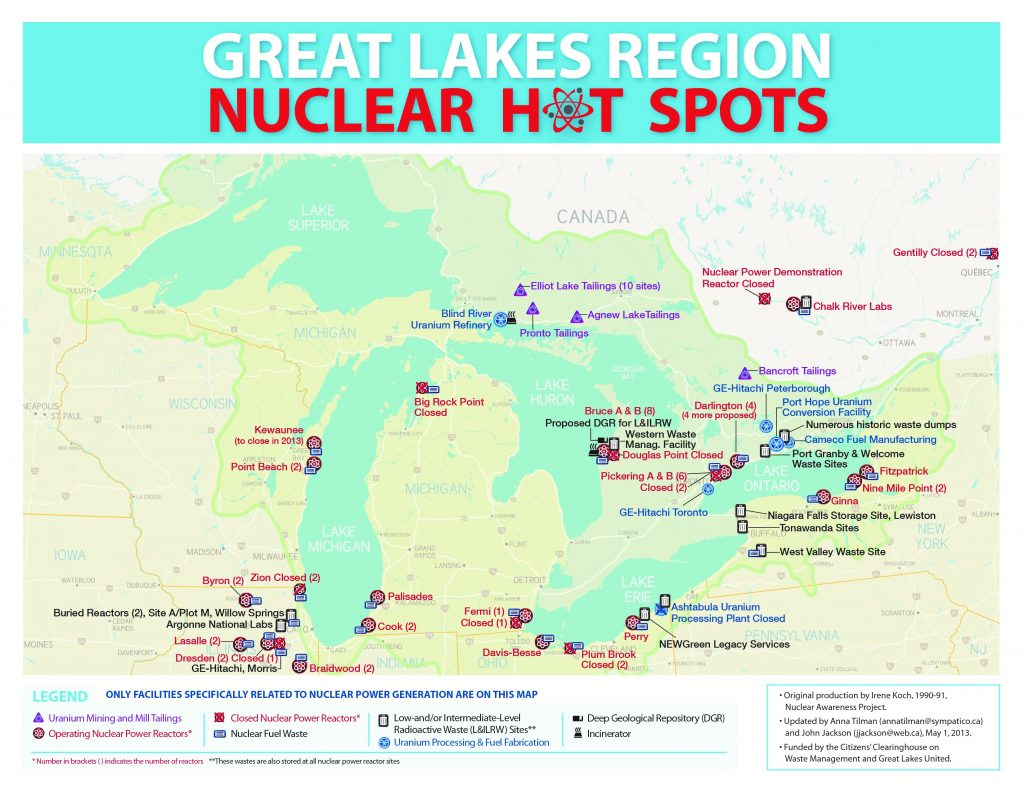 A map listing all the nuclear power plants and associated facilities around the Great Lakes