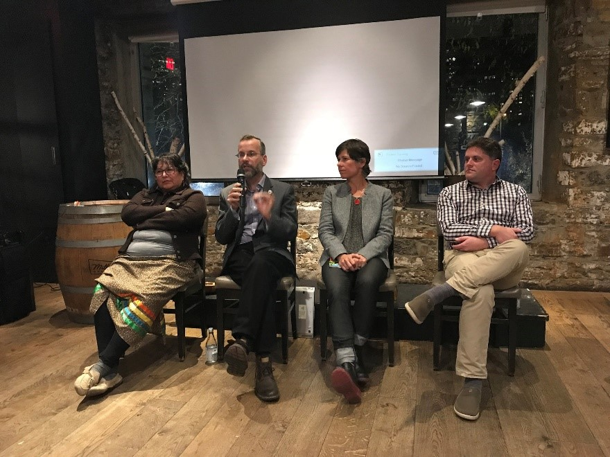 Panelists at the Great Lakes Water Quality Board event. From left to right: Verna McGregor, Algonquin elder, Kitigan Zibi; Dr. Rob de Loë, board co-chair; Meredith Brown of Ottawa Riverkeeper; Dr. Jesse Vermaire of Carleton University.
