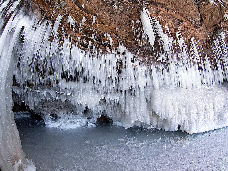 An ice cave on Lake Superior, February 2014. Credit: Bjorn Watland.