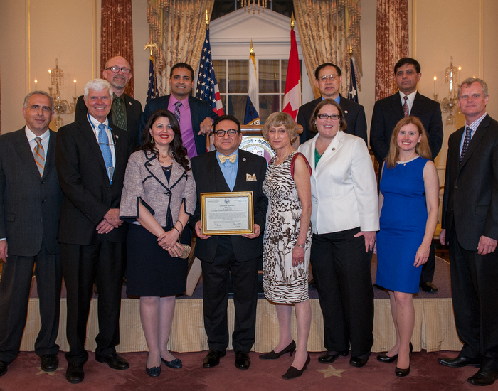 Dr. Saad Jasim, bottom row, fourth from left. Pictured with IJC commissioners and staff.