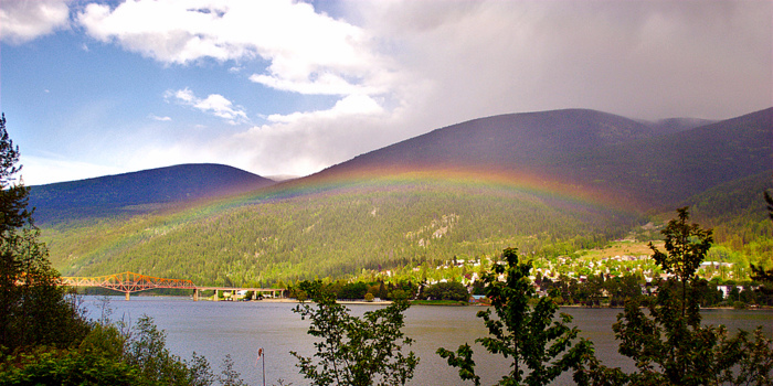 A rainbow over Kootenay Lake and the Nelson Bridge. Credit: Adam Harvey.