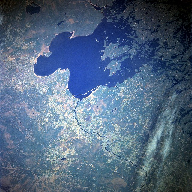 Lake of the Woods occupies parts of Ontario and Manitoba in Canada, and Minnesota in the United States. Credit: NASA.