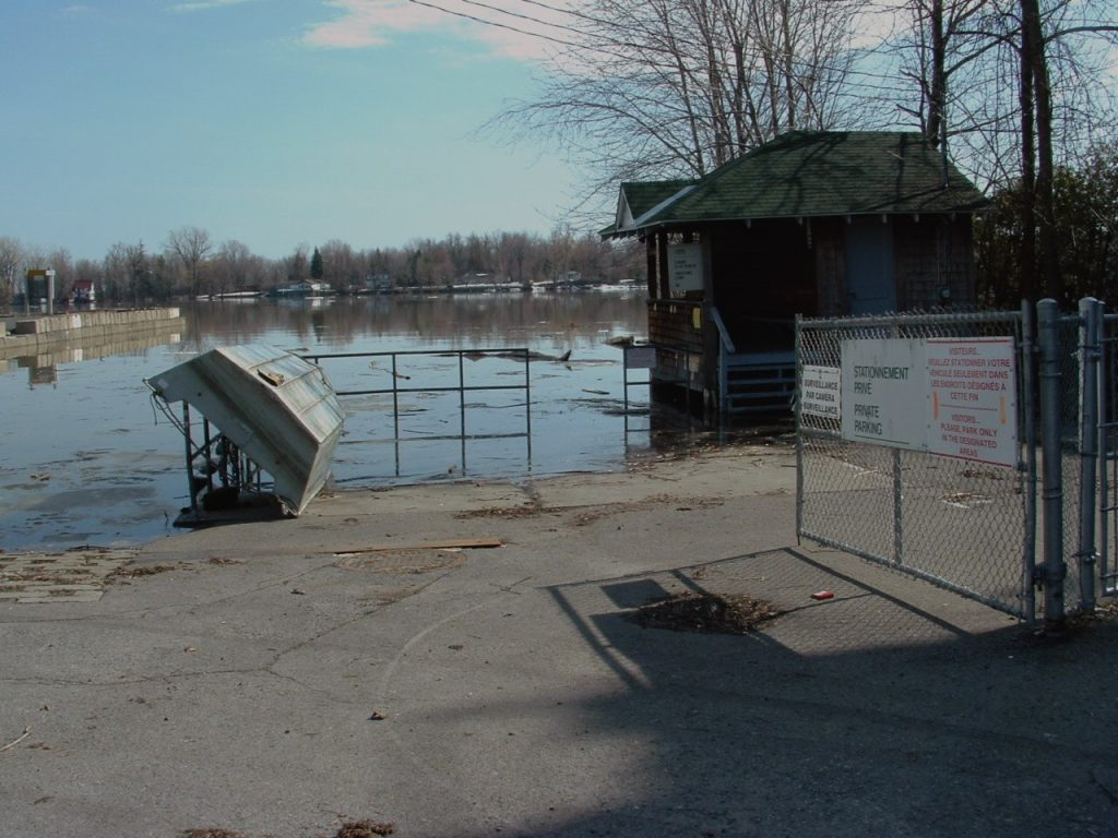Lake St. Louis flooding begins at a level of 22.19 m (72.80 feet), on April 17, 2008. Credit: Rob Caldwell, International Lake Ontario-St. Lawrence River Board