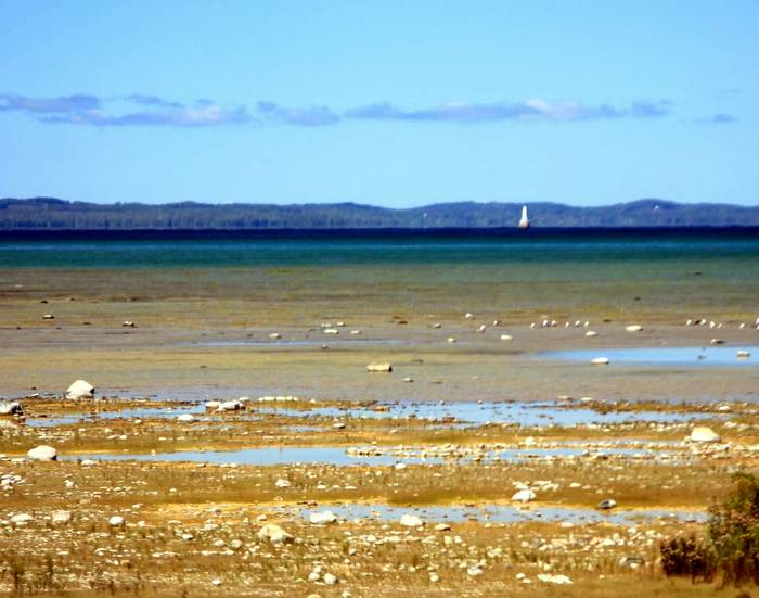 Low water levels on Lake Michigan, viewed from the tip of Old Mission Peninsula on Grand Traverse Bay, September 2013. Credit: Judy Lewis.
