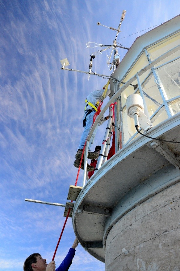Maintaining the meteorological instruments at Spectacle Reef Lighthouse in Lake Huron, September 2013. Credit: Pakorn Petchprayoon