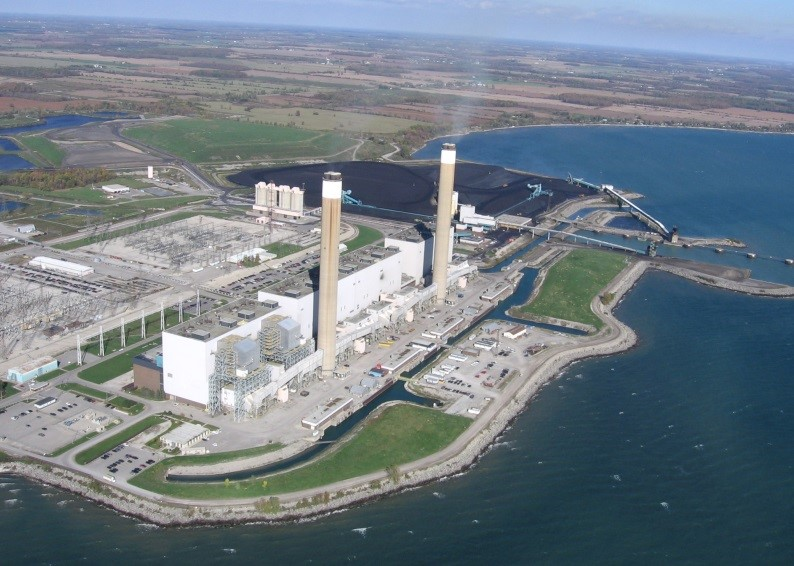 The Ontario Power Generating Station on Lake Erie stopped burning coal - a source of atmospheric mercury - on Dec. 31, 2013. In July 2015, Ontario Power Generation announced that the plant will be closed. Credit: OPG, 2007