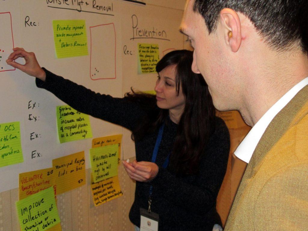 Les participants à l'atelier technique ont hiérarchisé les recommandations formulées au sujet des microplastiques. Source : archives de la CMI.