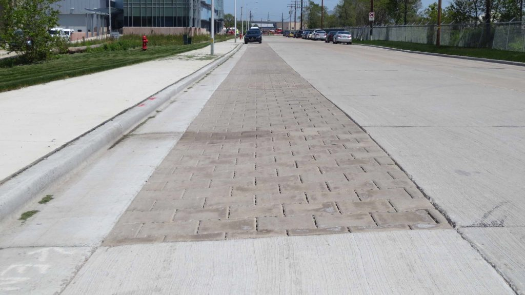 Permeable pavement on Milwaukee's Greenfield Avenue allows precipitation to pass through into the ground rather than enter the storm sewer system, which in turn helps prevent backups and flooding. Credit: City of Milwaukee
