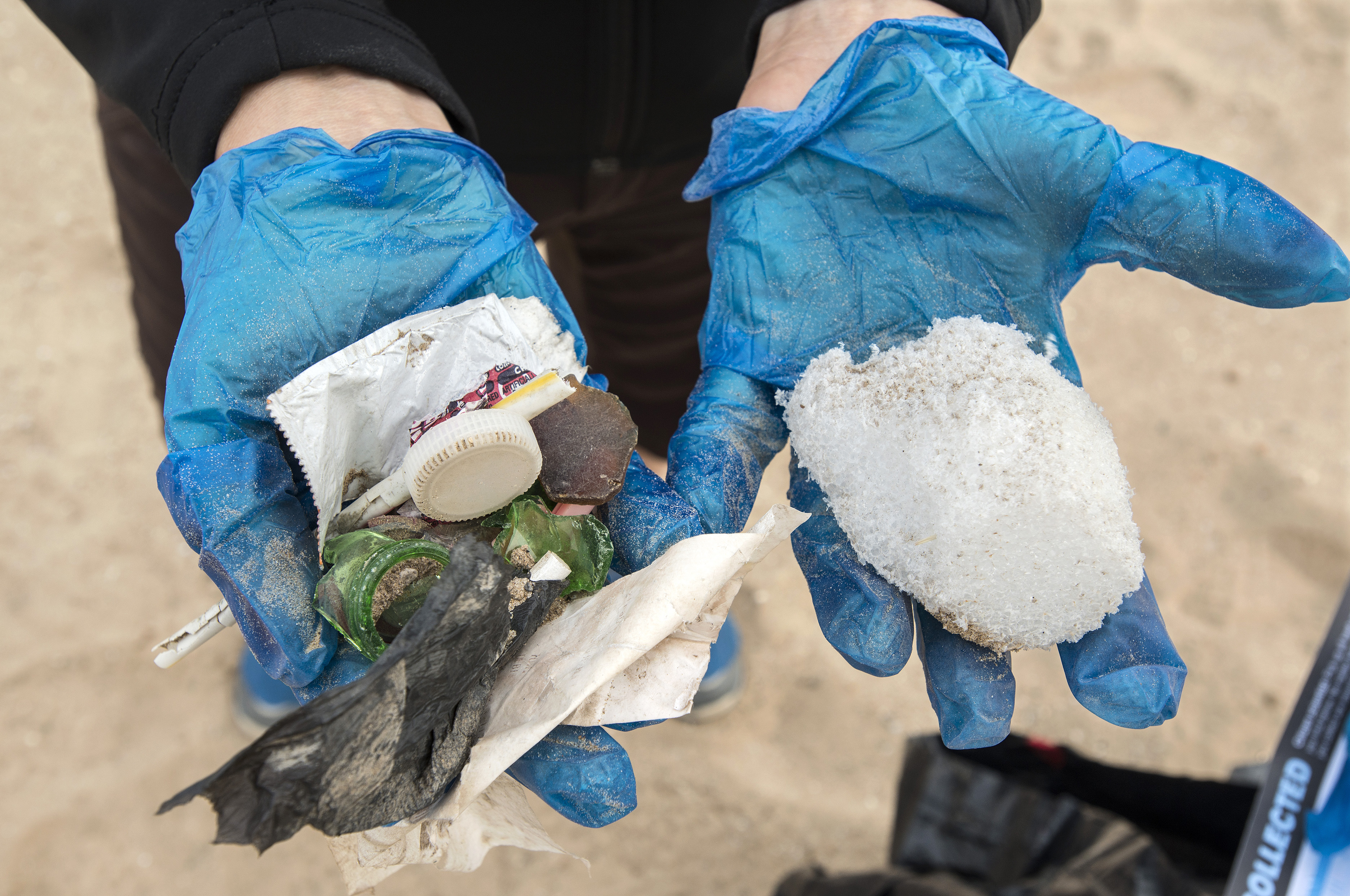 Plastic pollution collected during the September cleanup. Credit: Lloyd DeGrane, Alliance for the Great Lakes.