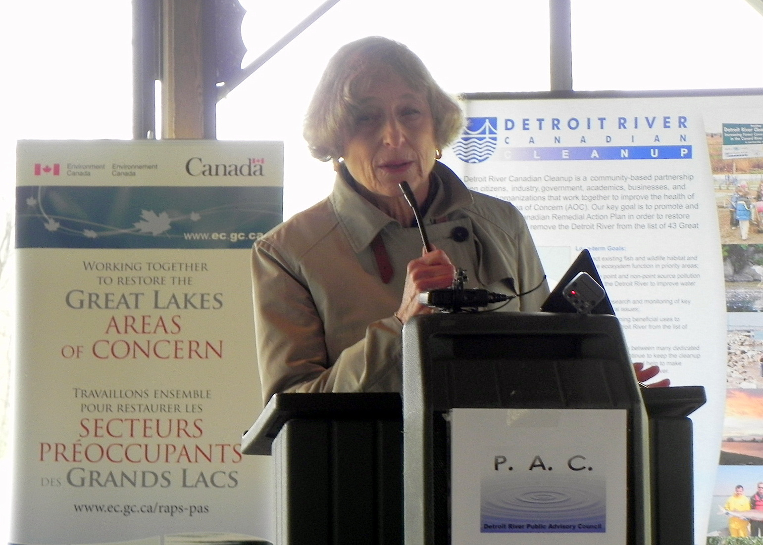 IJC U.S. Chair Lana Pollack speaks on the removal of tainted fish flavor from the Detroit River's Area of Concern list.