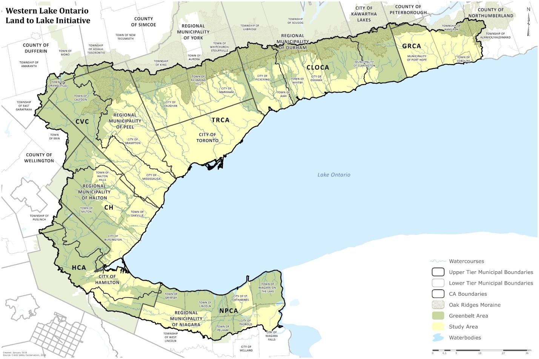 La zone d'étude proposée pour l'initiative Western Lake Ontario: Land to Lake