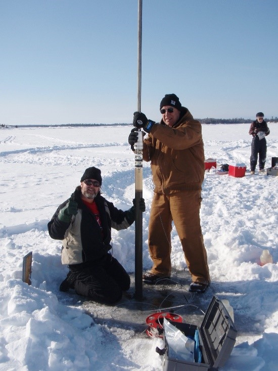 Sediment core samples from Lake of the Woods were used to reconstruct the history of phosphorus in the lake. Credit: Dr. Shawn Shottler, St. Croix Watershed Research Station, Science Museum of Minnesota