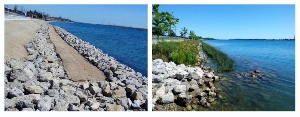 A shoreline before and after restoration in the St. Clair River Area of Concern. Credit: USEPA