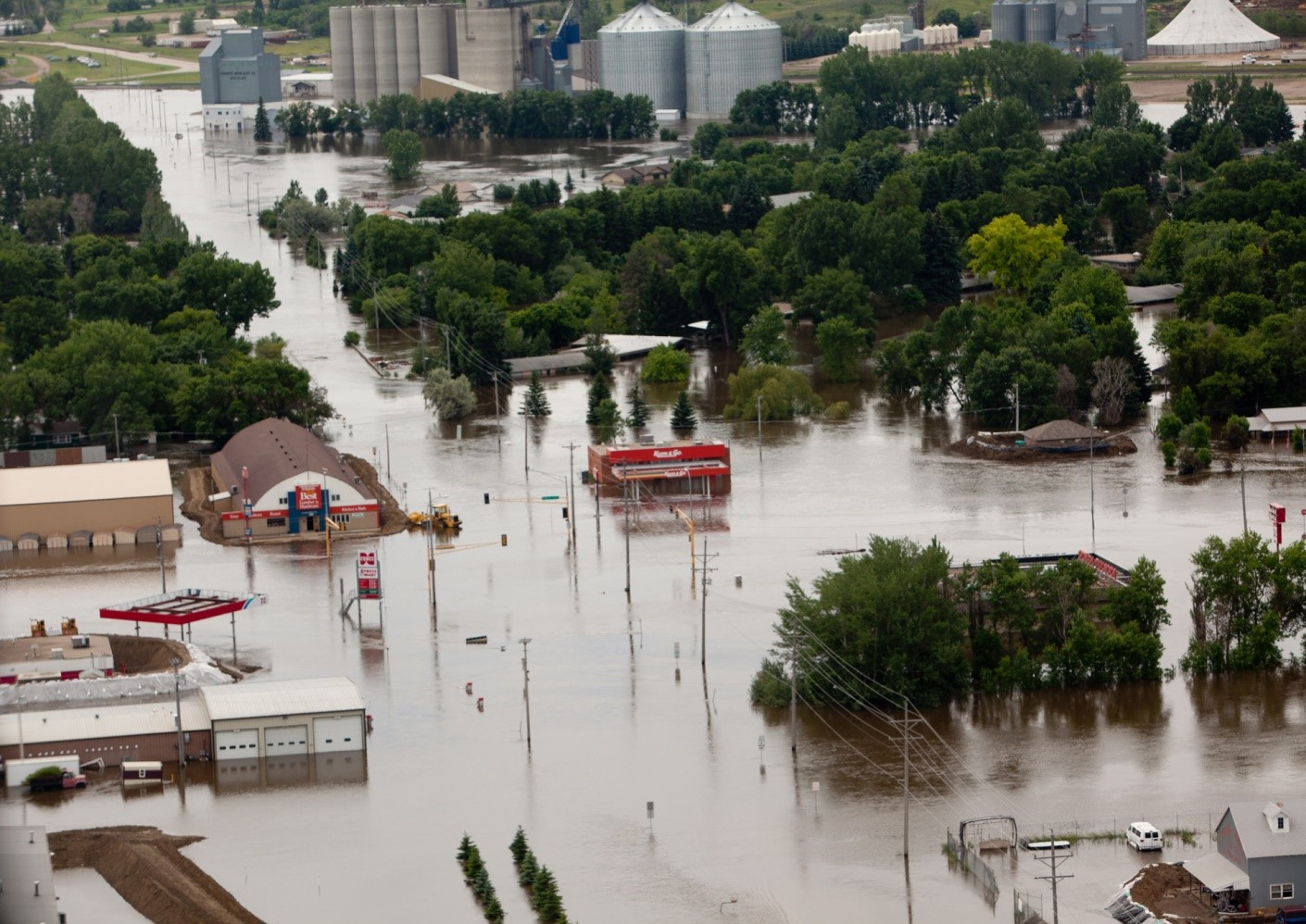 The 2011 Souris River flood, including communities like Burlington, North Dakota, has led to a new IJC study on ways to limit damages in the future. Credit: FEMA