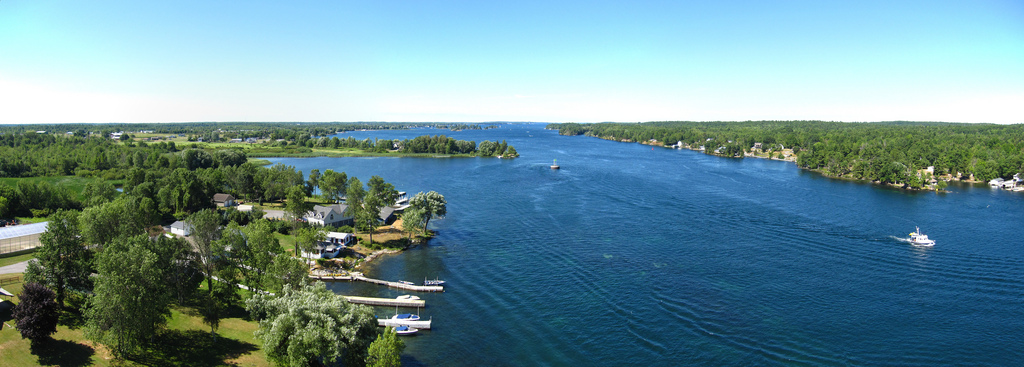 The St. Lawrence River from the Thousand Islands Bridge. Credit: Chris M. Morris.