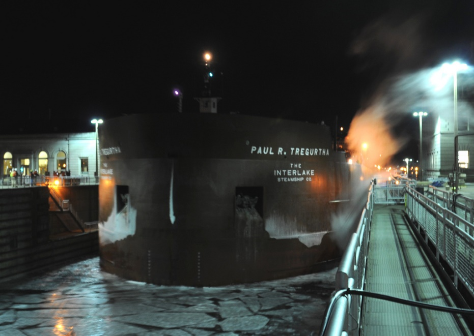 The Paul R. Tregurtha as it enters the Soo Locks. Credit: U.S. Army Corps of Engineers