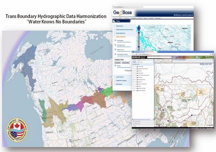 A screenshot from GeoBase, showing the IJC Data Harmonization Project.