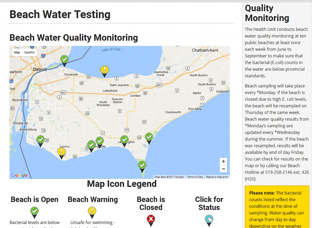 A example of beach water quality monitoring by the Windsor-Essex County Health Unit.