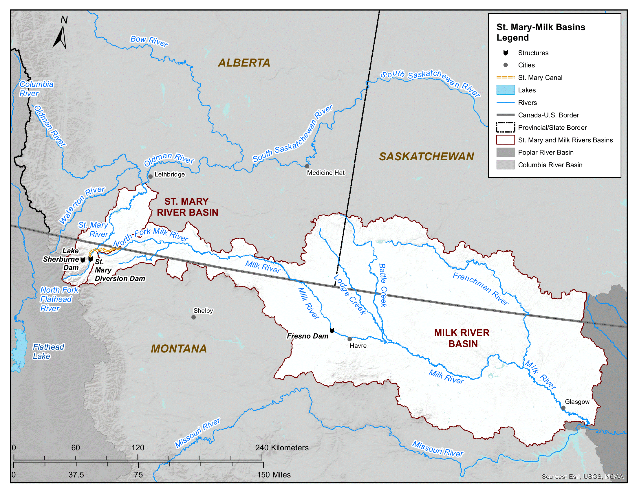 St. Mary and Milk watersheds map