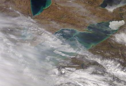 Lake Erie Ice Cover April 17, 2019 (NOAA CoastWatch MODIS Imagery)