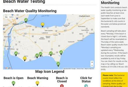 map of beach testing sites in Lake Erie
