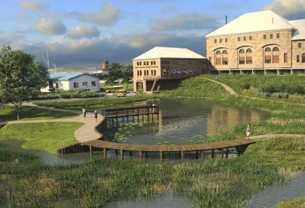 Render of LSSU's proposed Center for Freshwater Research and Education outdoor park