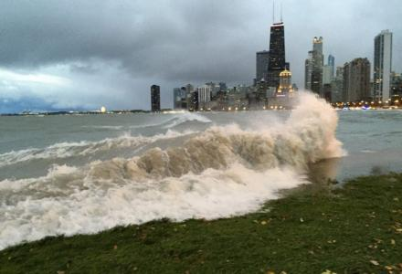 High waters along the Chicago shoreline