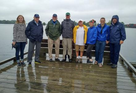 Water Matters - IJC Co-chairs pose with staff and residents on the Rainer rail bridge