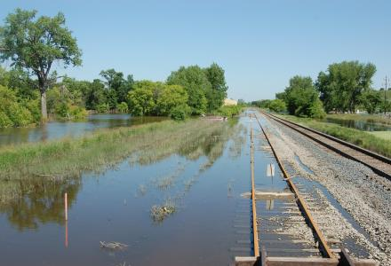 Floodwaters recede from railroad tracks in Sawyer, North Dakota