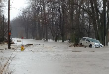 Storms caused flooding along western Lake Erie's northern shore in April 2018
