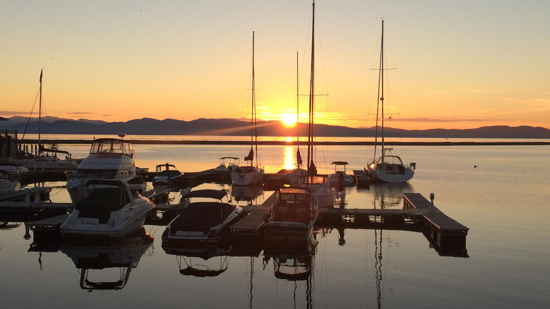 Picture of sail boats moored in Lake Champlain