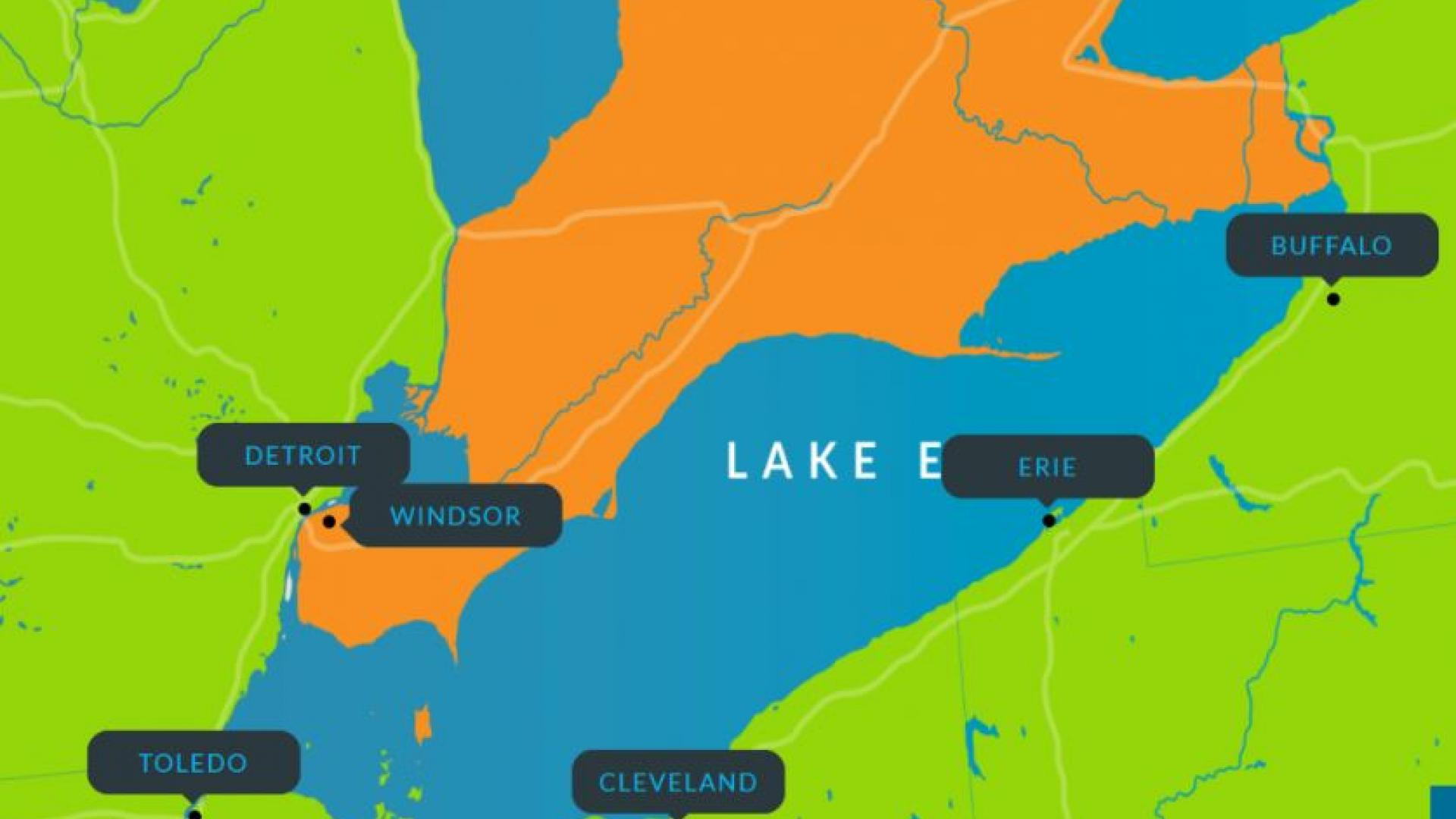 map of cities participating in Lake Erie hack