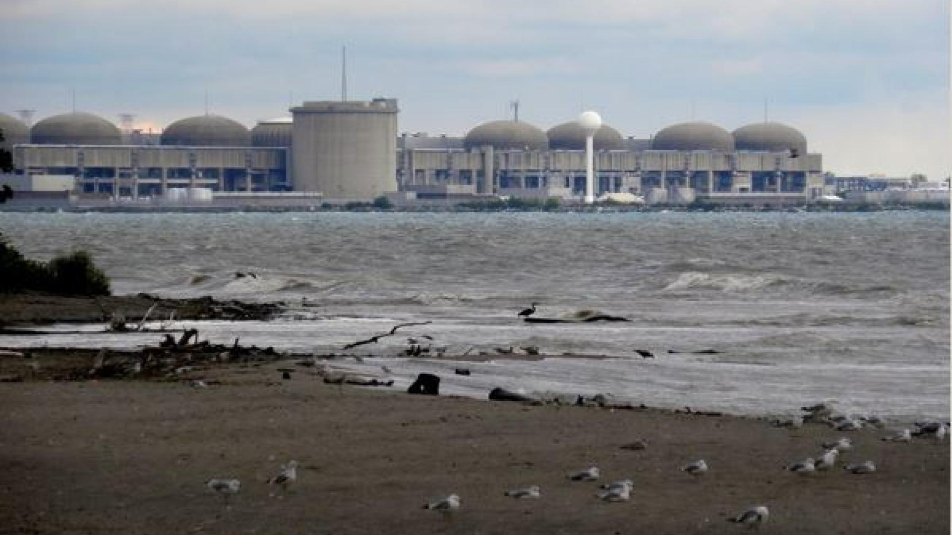 Pickering nuclear generating facility on shores of Lake Ontario