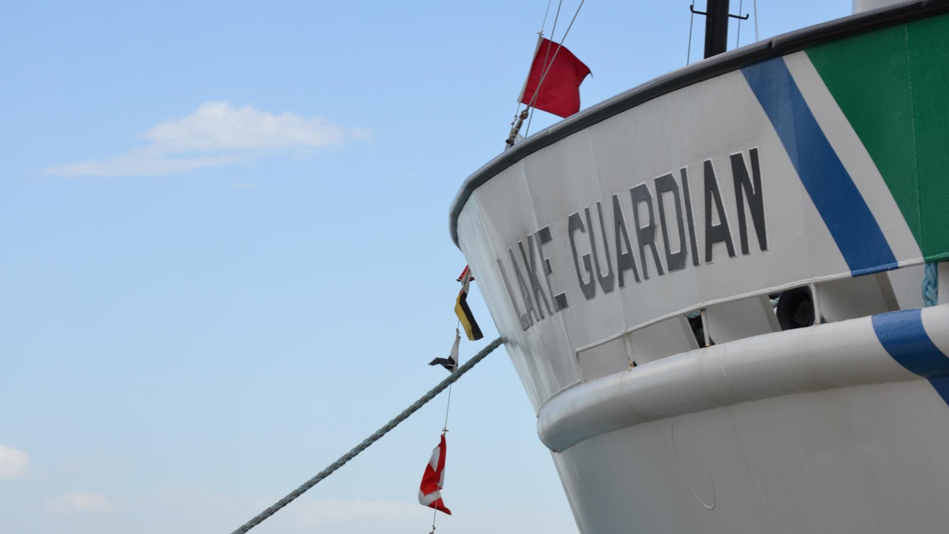 side of Lake Guardian, US EPA research vessel for the Great Lakes