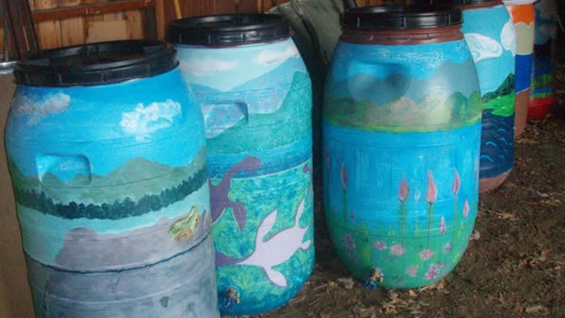 Rain barrels can hold water for later use that would otherwise end up as runoff during a storm.