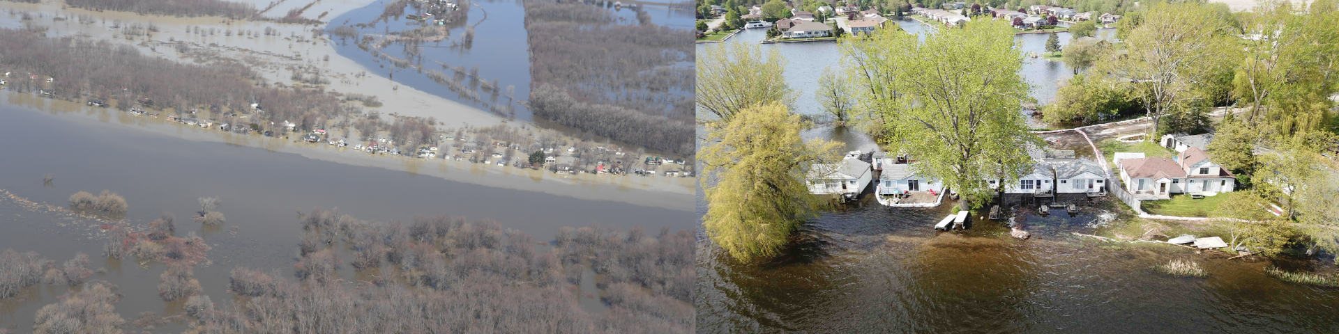 May 2019 St. Lawrence River at Lake Saint-Pierre (left, source: Lower Trent Region Conservation Authority) and Lake Ontario at Brighton (right, source: Transport Canada)