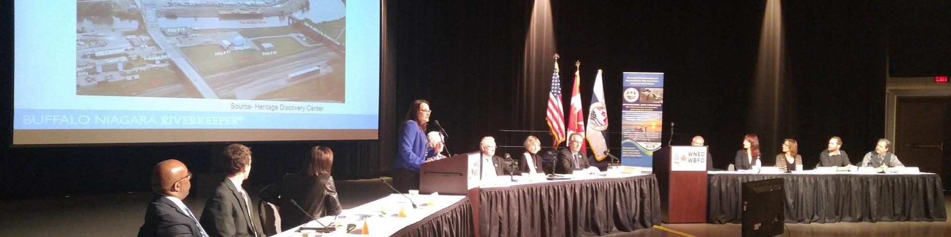 Image of head table during a presentation at the TAP Public Meeting in Buffalo, NY